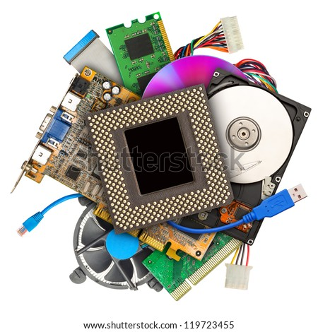 Heap of computer hardware isolated on white