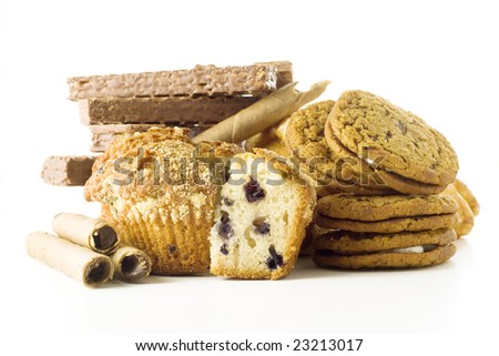Heap of cookies on white background