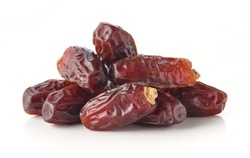 Heap of dates isolated on white background