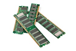 Heap of DDR RAM sticks isolated on white