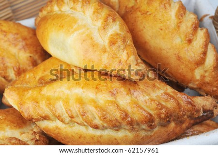 heap of delicious fresh pies with meat - stock photo
