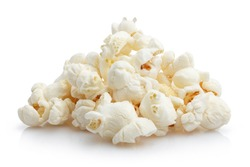 Heap of delicious popcorn, isolated on white background
