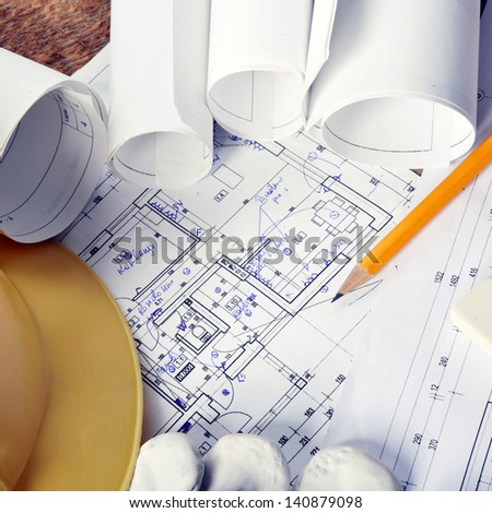 heap of design and project drawings on table background. #140879098