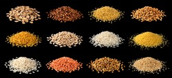 Heap of different cereals, grains, groats, legumes and beans isolated on black background