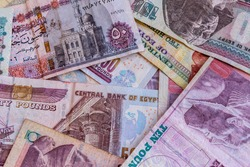 Heap of different egyptian banknotes for background