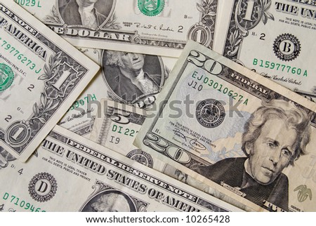 Heap of dollar banknote in close up