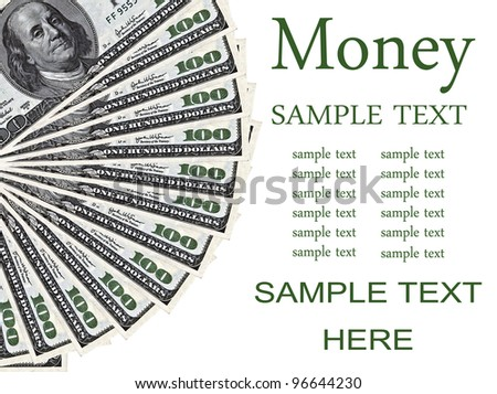 Heap of 100 dollar bills isolated on white background - Money concept