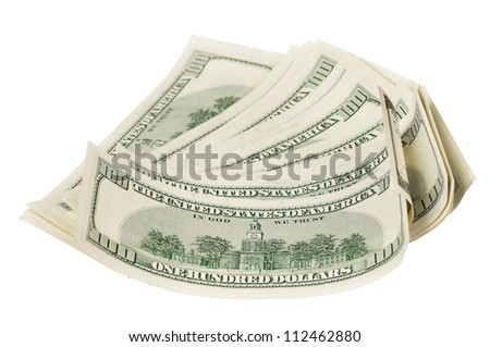 Heap of dollars isolated on a white background