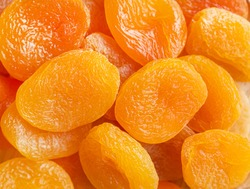 Heap of dried apricots, close up
