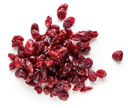 Heap of dried cranberries isolated on white background, top view