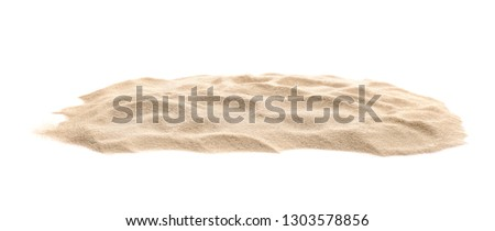Heap of dry beach sand on white background
