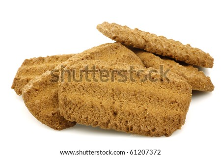 """heap of Dutch cookies called """"Bastogne koek"""" on a white background"""