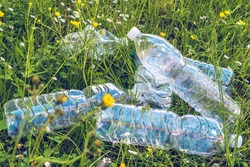heap of empty plastic water bottles amid flowery field,pollution concept