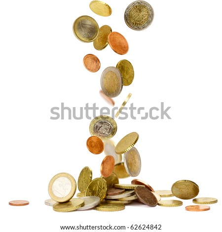 Heap of euro coins falling to the ground