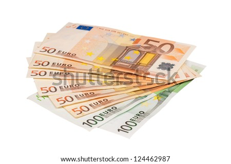 Heap of euro isolated on a white background