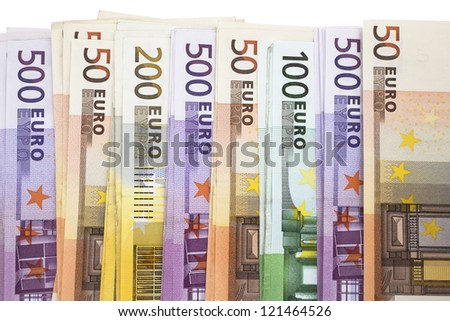Heap of Euro Notes. A pile of European Union banknotes
