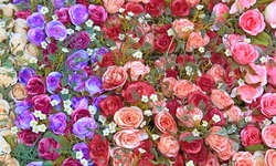 Heap of Fake rose flower using as love and beauty conceptual background