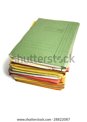 heap of file folders isolated on white