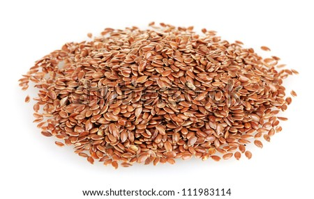 heap of flax seeds isolated on white background