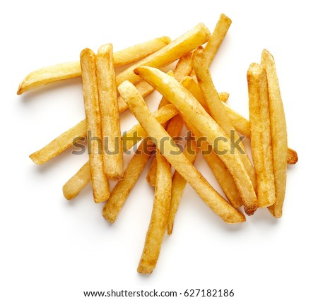 Heap of french fries isolated on white background, top view #627182186
