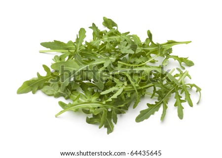 Heap of fresh Arugula leaves on white background