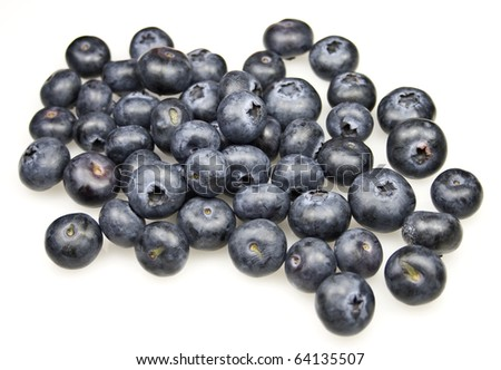 Heap of fresh blueberries on white background