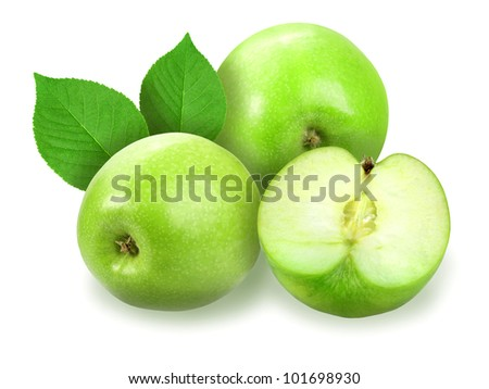 Heap of fresh green apples with green leaf. Placed on white background. Close-up. Studio photography.
