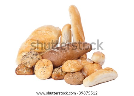 Heap of freshly baked bread on white background