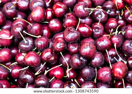 Heap of freshly harvested organic cherries for sale at market #1308743590