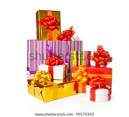 Heap of gift boxes on white background with clipping path