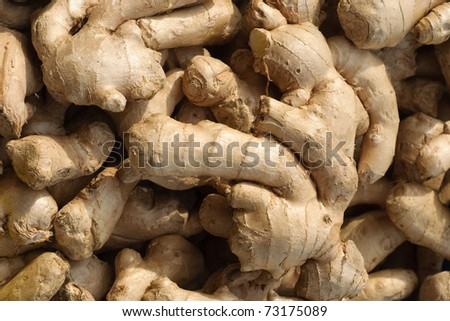 Heap of ginger root