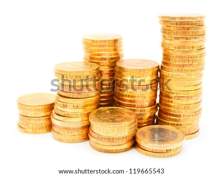 Heap of gold coins. On a white background.