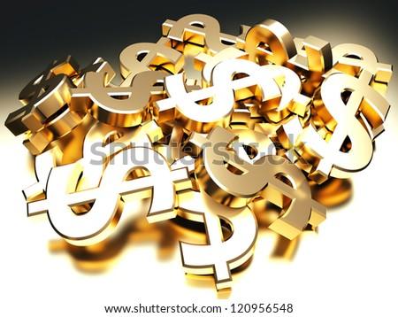 Heap of golden dollar signs. 3d render illustration