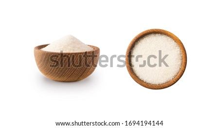 Heap of granulated sugar isolated on white background. Top view. Heap of sugar on white background. Wooden bowl of white sugar isolated on white background. Sugar in wooden bowl for cooking, isolated.