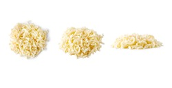 heap of grated mozzarella cheese isolated on white background