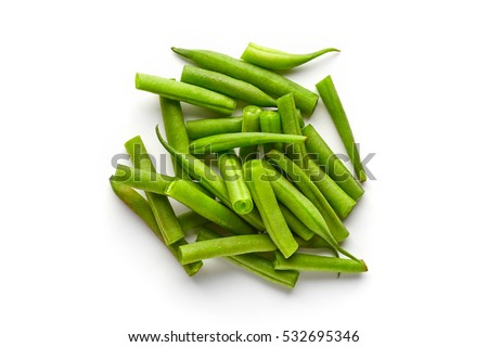 Heap of green beans isolated on white background, top view Stockfoto ©