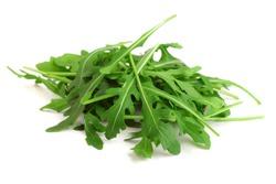 Heap of Green fresh rucola or arugula leaf isolated on white background