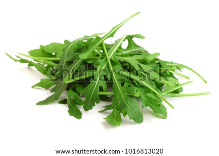 Heap of Green fresh rucola or arugula leaf isolated on white background ストックフォト ©