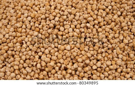 Heap Of Hazelnuts At A Street Market In Istanbul, Turkey.  Carsamba Fatih Pazari (Bazaar)