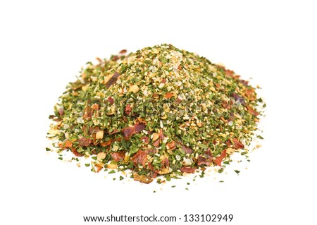 heap of hot spices on white