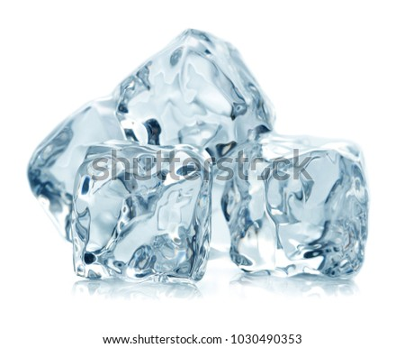 heap of ice cubes isolated on white background #1030490353