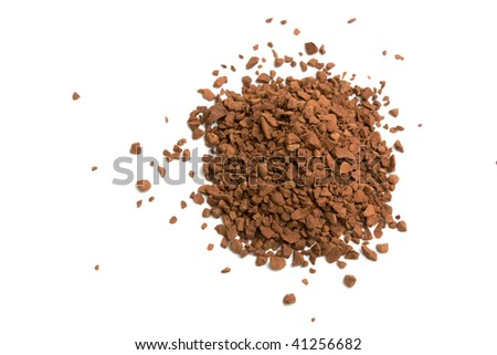 heap of instant coffe isolated on white background