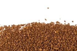 Heap of instant coffee for background closeup on white