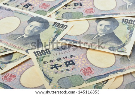 Heap of Japanese 1000 Yen , money background