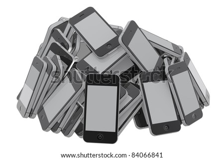 Heap of many new smartphones of the same kind