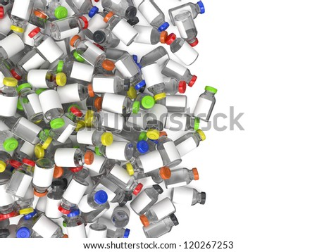 Heap of Medical Ampules Isolated on White Background.