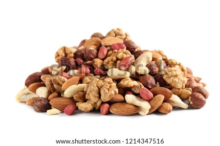 heap of mixed nuts isolated on white background