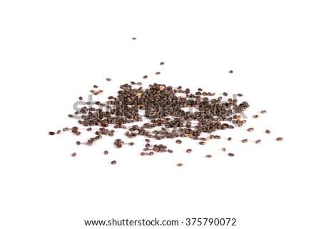 heap of natural black chia seeds vegan gluten-free organic, healthy diet vegetarian superfood with antioxidant, omega-3, protein, mineral nutrients. macro close-up shot isolated on white background.