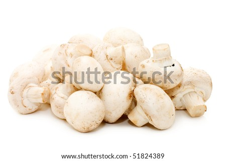 Heap of of mushroom champignon isolated on white background.