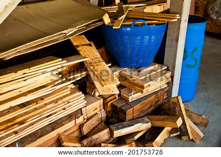 Heap of Old Wood Plank with Rust Nail in Carpentry Business and Carpenter Wood Work for Background and Texture.